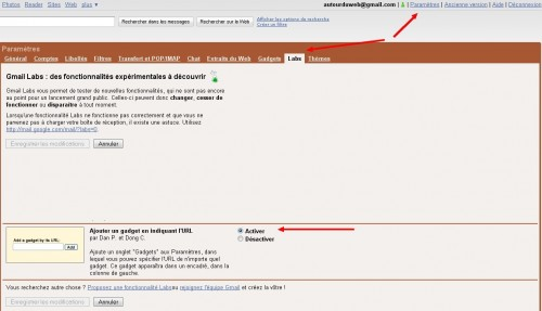 Paramètre Gmail