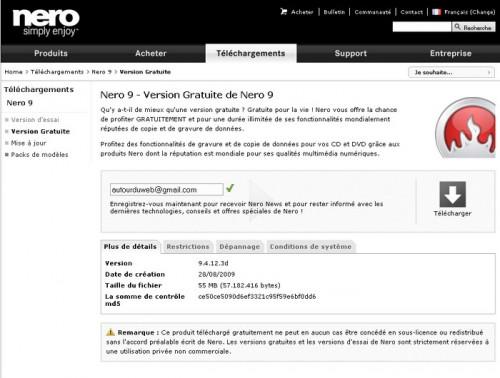 Nero 9 gratuit