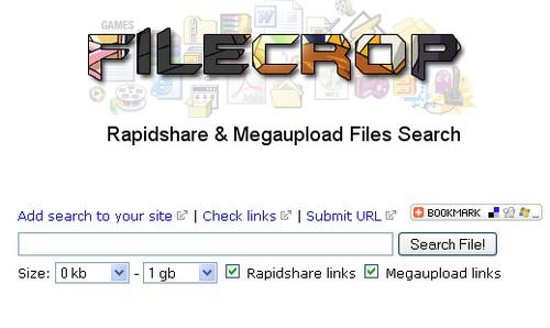 filecrop MegaUpload : 15 moteurs de recherche pour trouver des liens