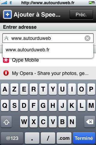 opera mini ajout site