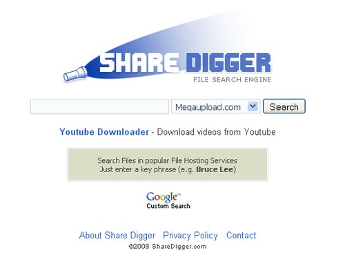 sharedigger MegaUpload : 15 moteurs de recherche pour trouver des liens