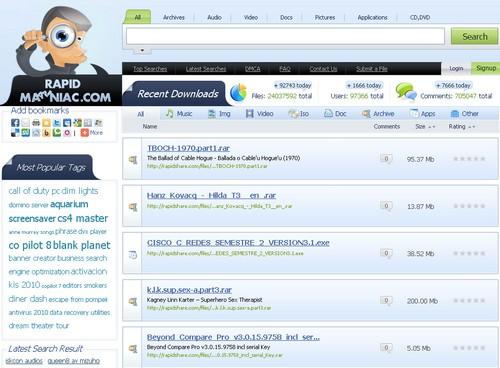 rapidmaniac RapidShare : 10 sites pour trouver vos liens de téléchargement