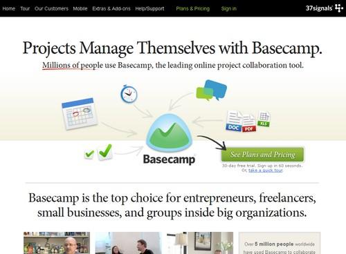 basecamp 10 sites pour gérer un projet en ligne