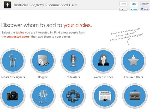 unofficial google+ recommended users