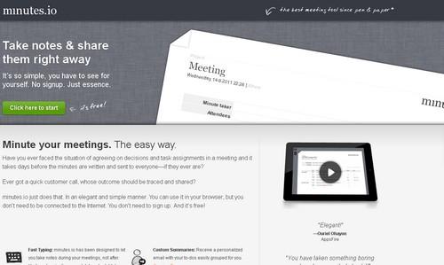 minutes.io  10 outils pour enregistrer des notes en ligne