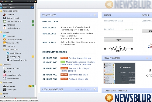 newsblur 11 alternatives à Google Reader