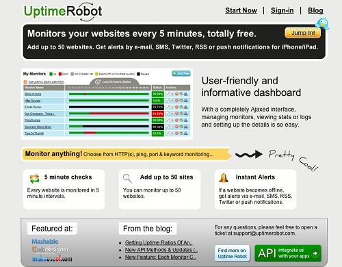 uptimerobot 11 outils pour faire du monitoring sur un blog (ou un site)