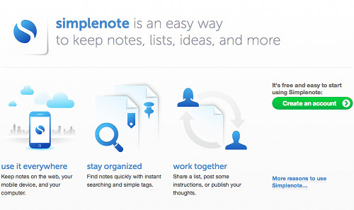 simplenote 5 alternatives gratuites à Evernote