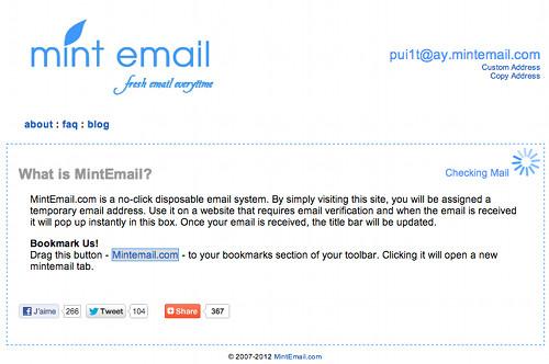 mintmail 5 services en ligne d'Email jetable, temporaire et gratuit