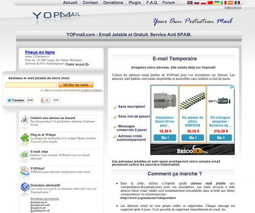 yopmail 5 services en ligne d'Email jetable, temporaire et gratuit