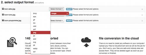 cloudconvert-format-sortie